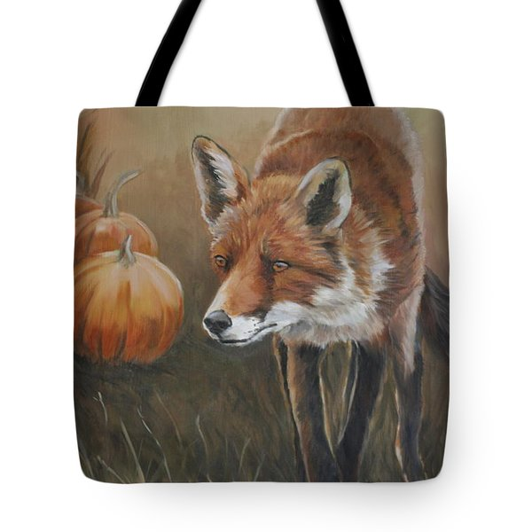 Red Fox With Pumpkins Tote Bag by Charlotte Yealey