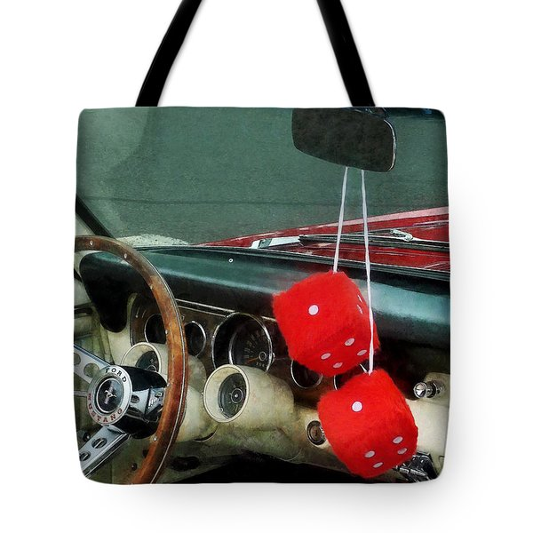 Red Fuzzy Dice In Converible Tote Bag by Susan Savad