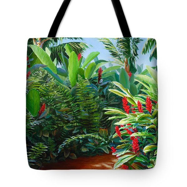 Tropical Jungle Landscape - Red Garden Hawaiian Torch Ginger Wall Art Tote Bag