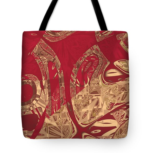 Red Geranium Abstract Tote Bag by Judi Suni Hall