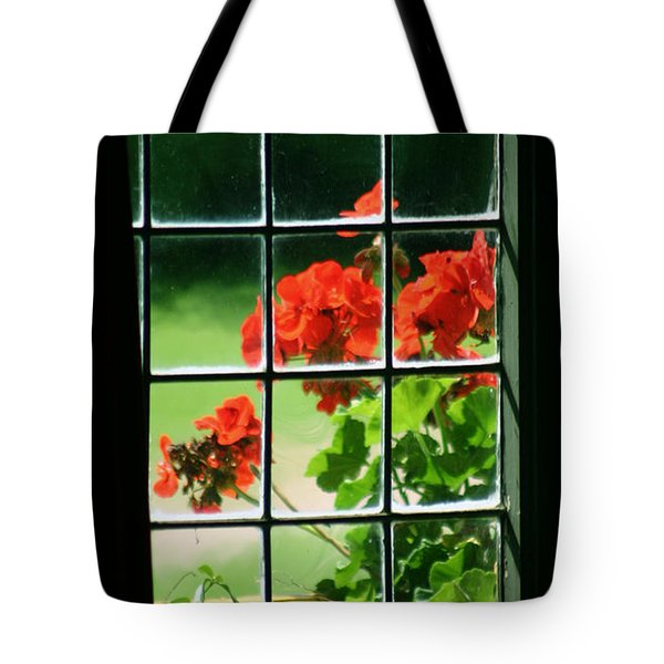 Red Geranium Through Leaded Window Tote Bag
