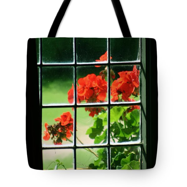 Red Geranium Through Leaded Window Tote Bag