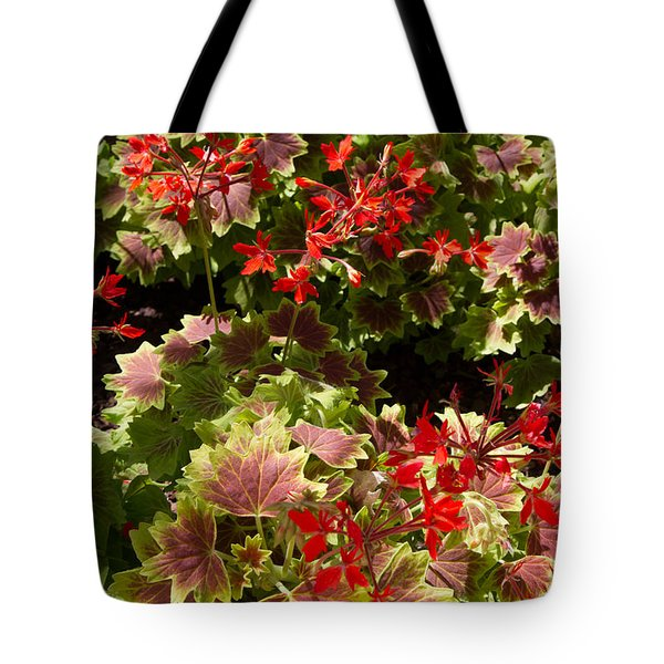Tote Bag featuring the photograph Red Geraniums 1 by Chris Scroggins