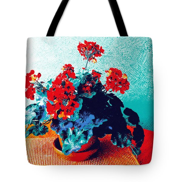 Red Geraniums Still Life Tote Bag
