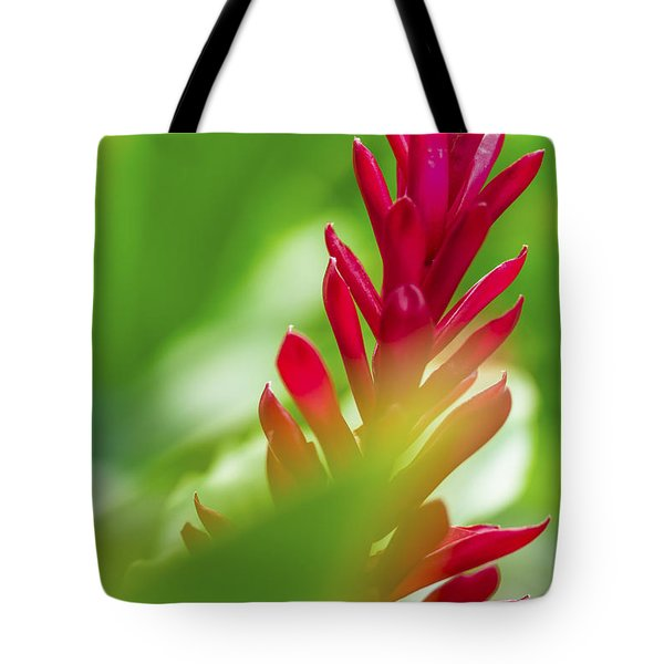 Tote Bag featuring the photograph Red Ginger Bract by Leigh Anne Meeks