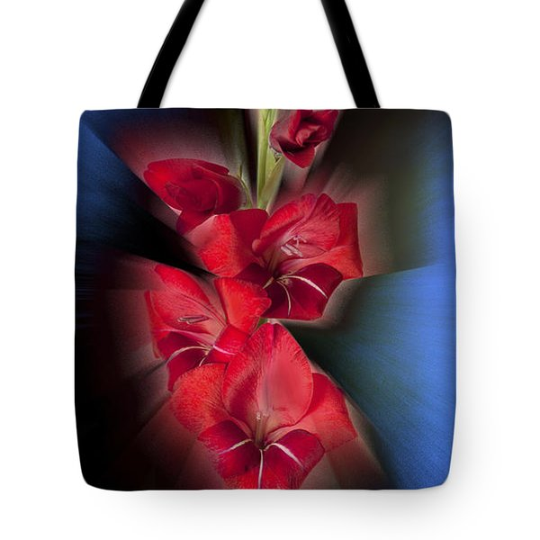 Tote Bag featuring the photograph Red Gladiola by Mark Greenberg