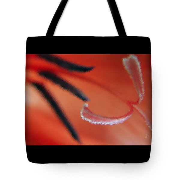 Red Gladiolus Abstract Tote Bag by Ben and Raisa Gertsberg