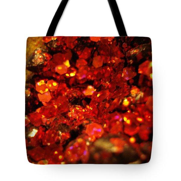 Red Glitter Pomagranite Tote Bag