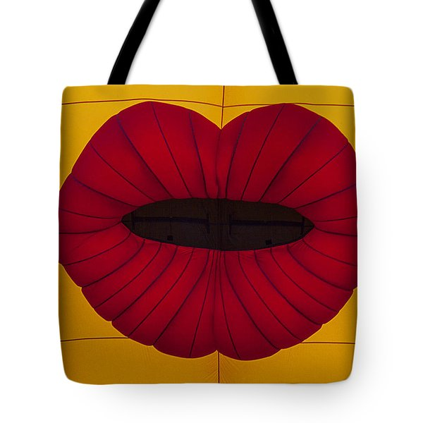 Red Graphic Lips Tote Bag