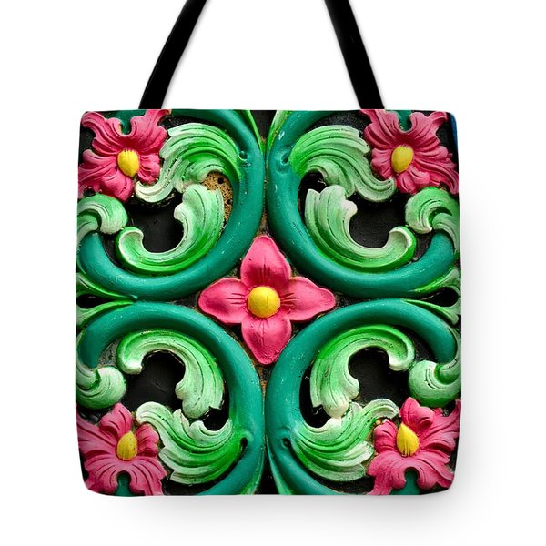 Red Green And Blue Floral Design Singapore Tote Bag