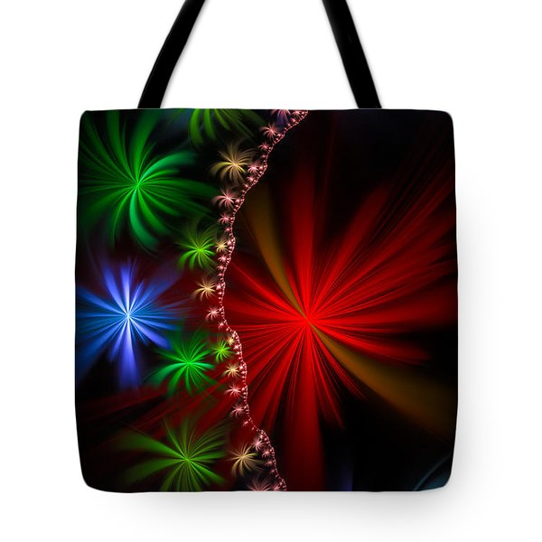 Red Green And Blue Fractal Stars Tote Bag by Matthias Hauser