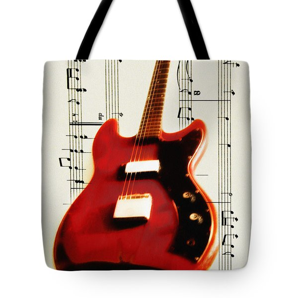 Red Guitar Tote Bag by Bill Cannon