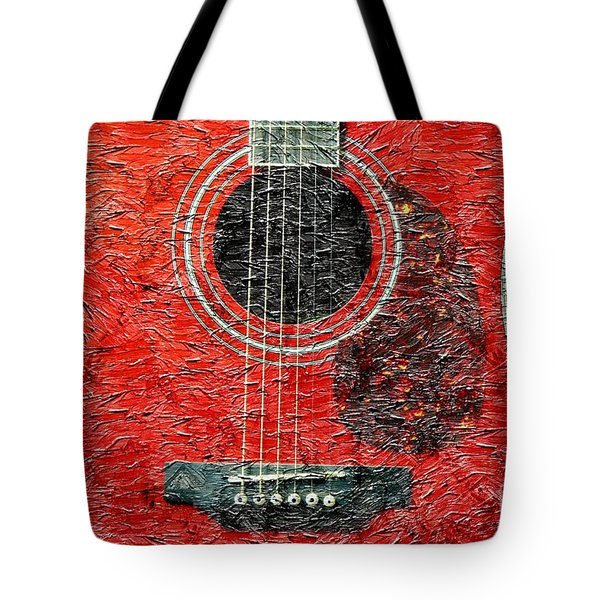 Red Guitar Center - Digital Painting - Music Tote Bag by Barbara Griffin