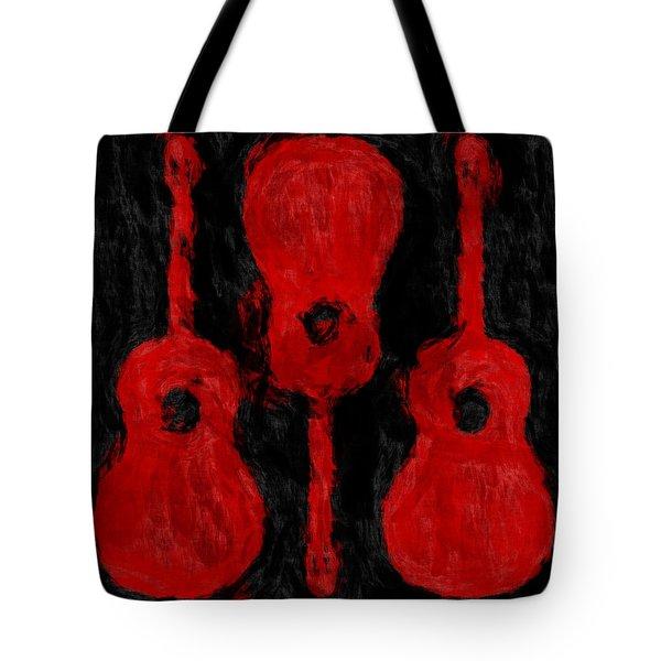 Red Guitars Tote Bag by David G Paul