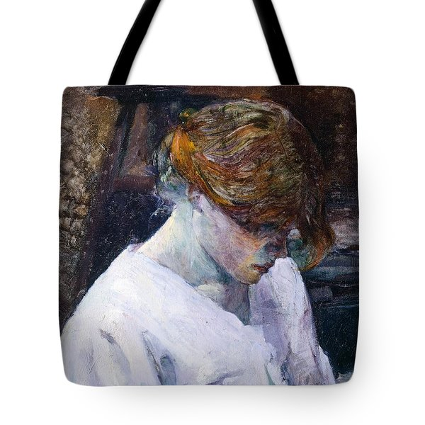 Red-haired Woman In White Camisole Tote Bag by Henri de Toulouse Lautrec