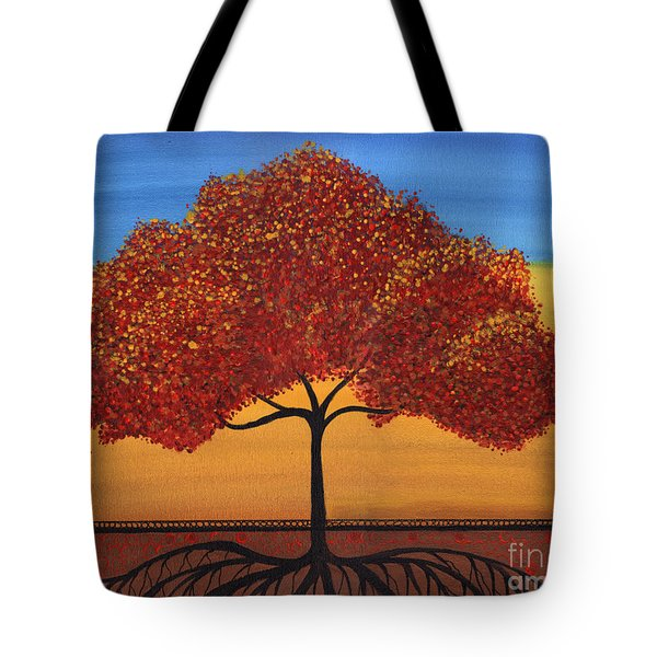 Red Happy Tree Tote Bag