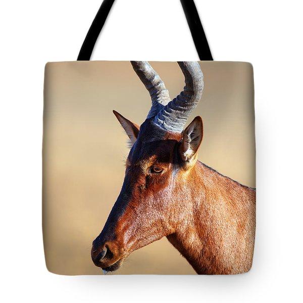 Red Hartebeest Portrait Tote Bag