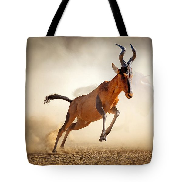Red Hartebeest Running In Dust Tote Bag