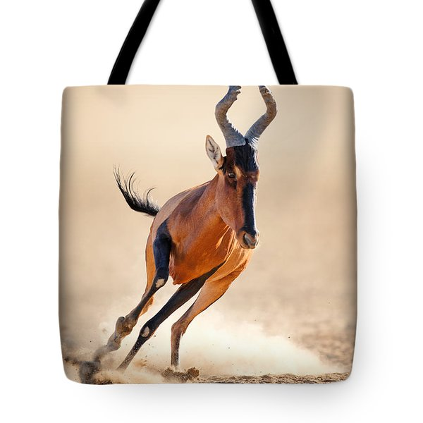 Red Hartebeest Running Tote Bag by Johan Swanepoel