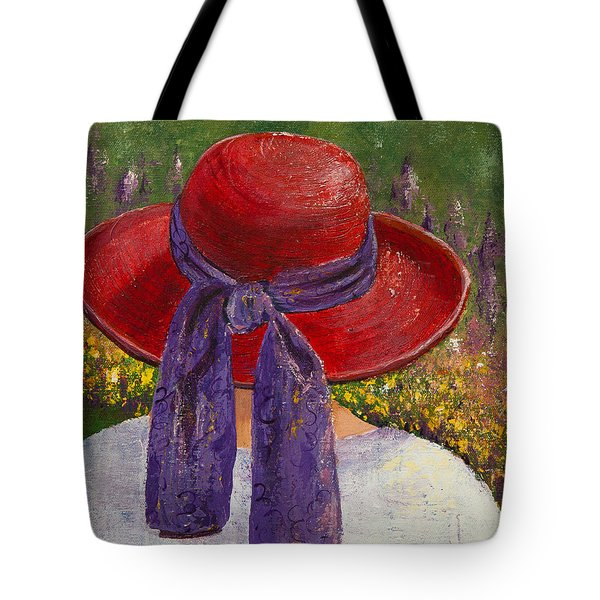 Red Hat Garden Tote Bag by Margaret Bobb