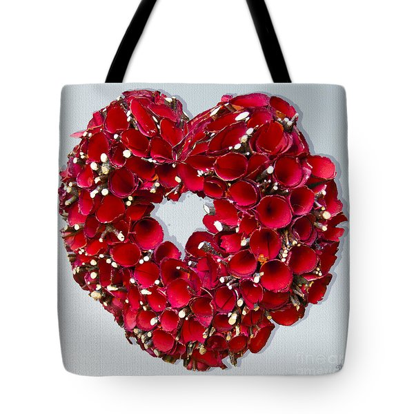 Tote Bag featuring the photograph Red Heart Wreath by Victoria Harrington