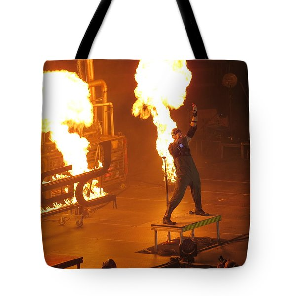 Tote Bag featuring the photograph Red Heats Up Winterjam In Atlanta by Aaron Martens