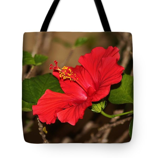 Red Hibiscus Flower Tote Bag by Cynthia Guinn
