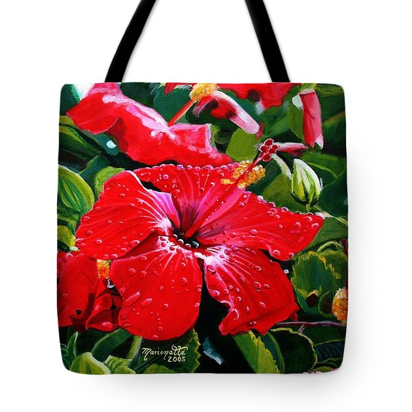 Tote Bag featuring the painting Red Hibiscus by Marionette Taboniar