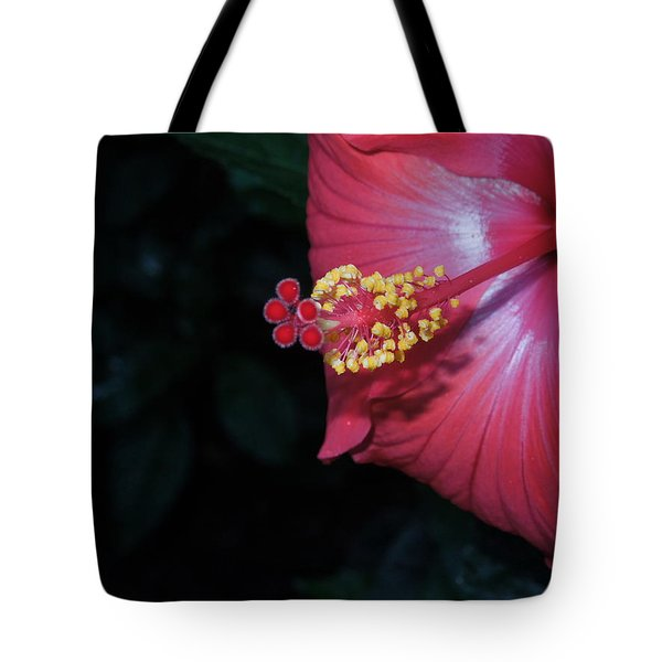 Tote Bag featuring the photograph Red Hibiscus by Ron Davidson
