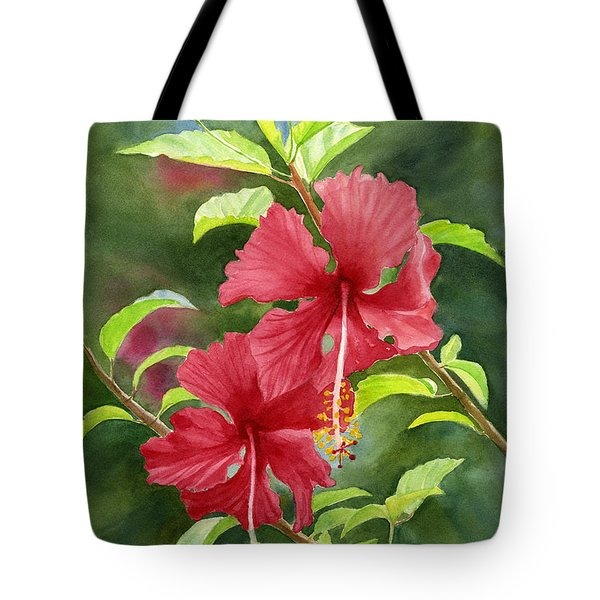 Red Hibiscus With Background Tote Bag