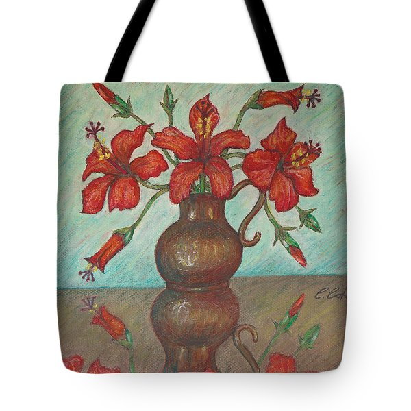 Red Hibiscus With Blue Background Tote Bag by Claudia Cox