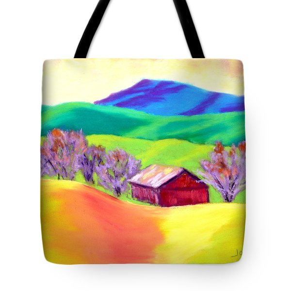 Tote Bag featuring the painting Red Hill Barn by Nancy Jolley