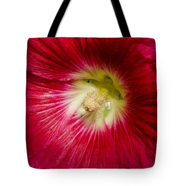 Tote Bag featuring the photograph Red Hollyhock Althaea Rosea by Sue Smith