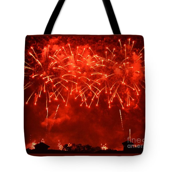 Red Hot Fireworks Tote Bag by Darla Wood