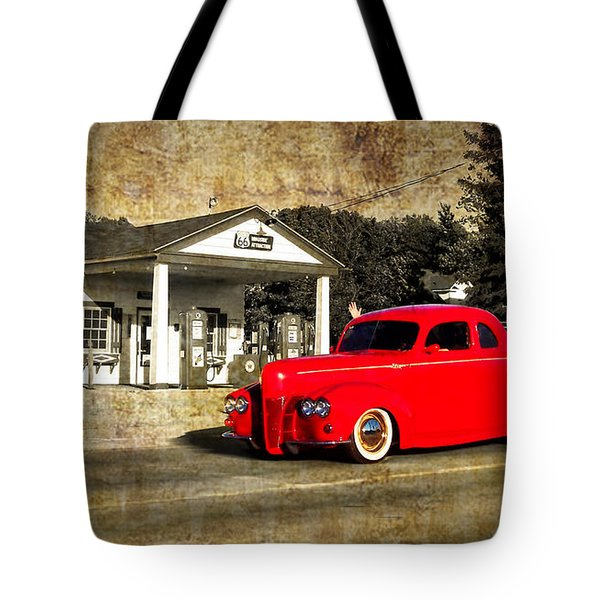 Red Hot Rod Cruising Route 66 Tote Bag by Thomas Woolworth