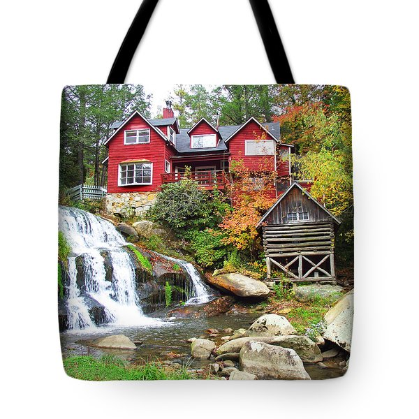 Red House By The Waterfall Tote Bag