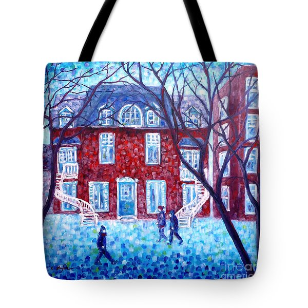 Red House In Montreal - Cityscape Tote Bag