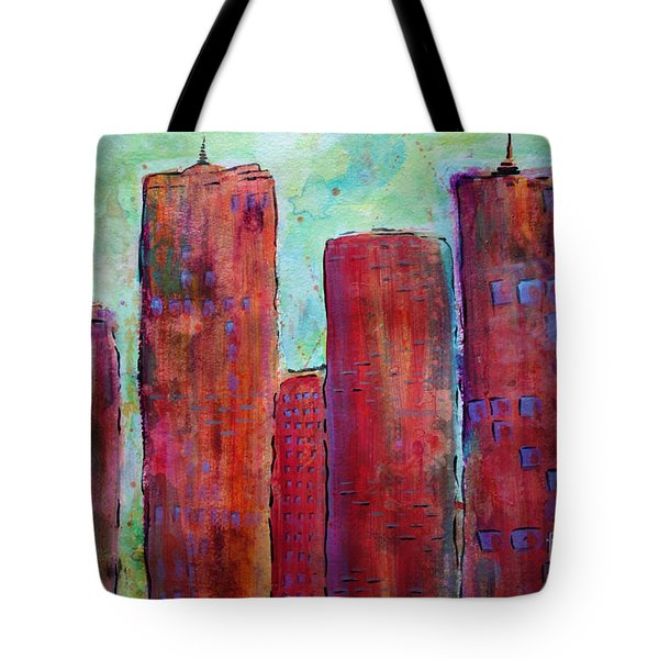 Tote Bag featuring the painting Red In The City by Jacqueline Athmann