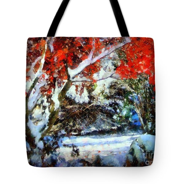Red Japanese Maple In Snow Tote Bag