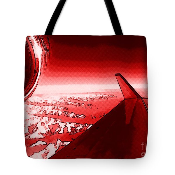 Tote Bag featuring the photograph Red Jet Pop Art Plane by R Muirhead Art