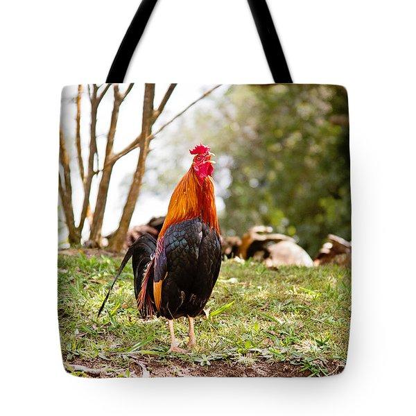 Red Jungle Fowl - Moa Tote Bag by Scott Pellegrin