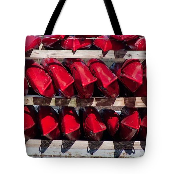 Red Kayaks Tote Bag by Thomas Marchessault