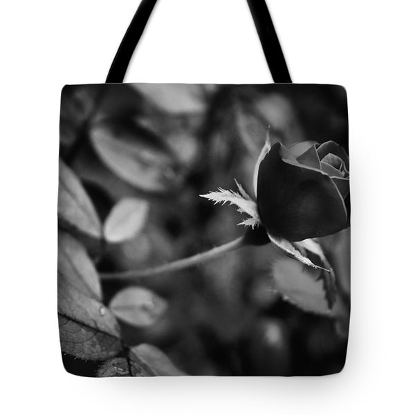 Red Knockout Rose In Monochrome Tote Bag