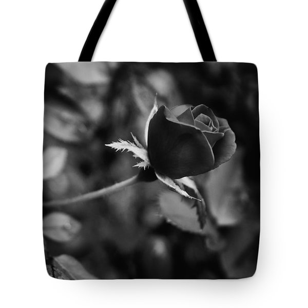 Tote Bag featuring the photograph Red Knockout Rose In Monochrome by Ben Shields
