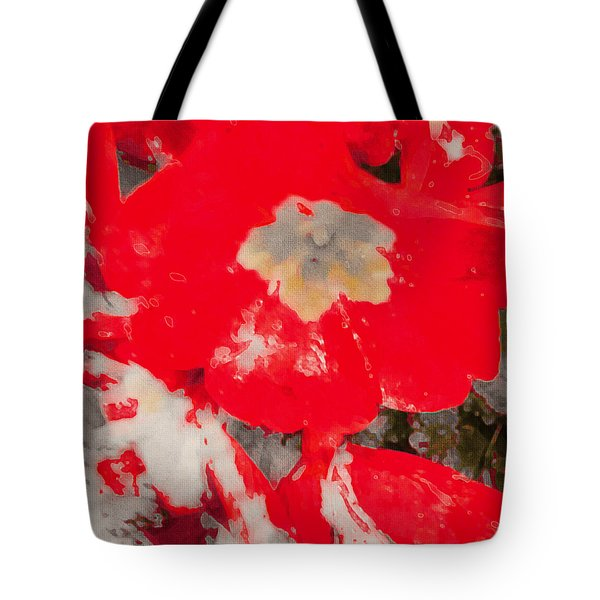 Red Lacquered Primroses Tote Bag