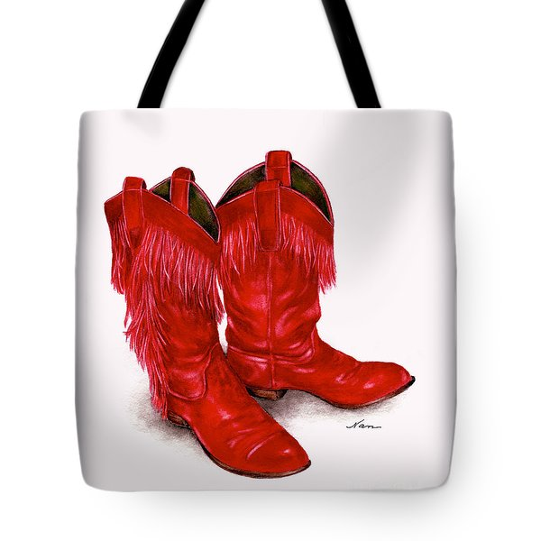 Red Leather Fringed Cowboy Boots Tote Bag by Nan Wright