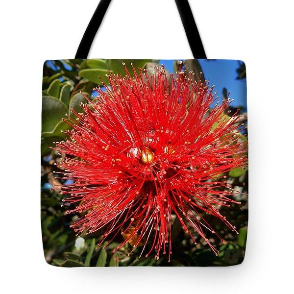 Red Lehua Tote Bag by Pamela Walton