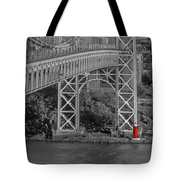 Red Lighthouse And Great Gray Bridge Bw Tote Bag