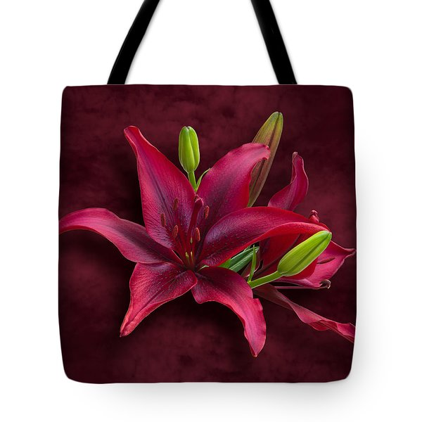 Red Lilies Tote Bag by Jane McIlroy