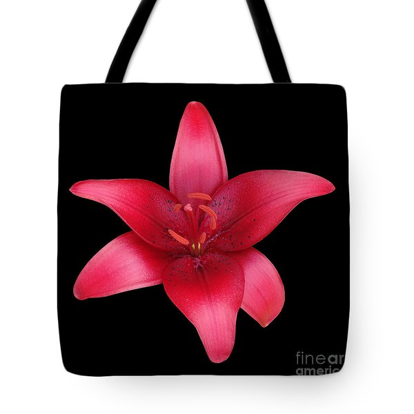 Tote Bag featuring the photograph Red Lily by Judy Whitton